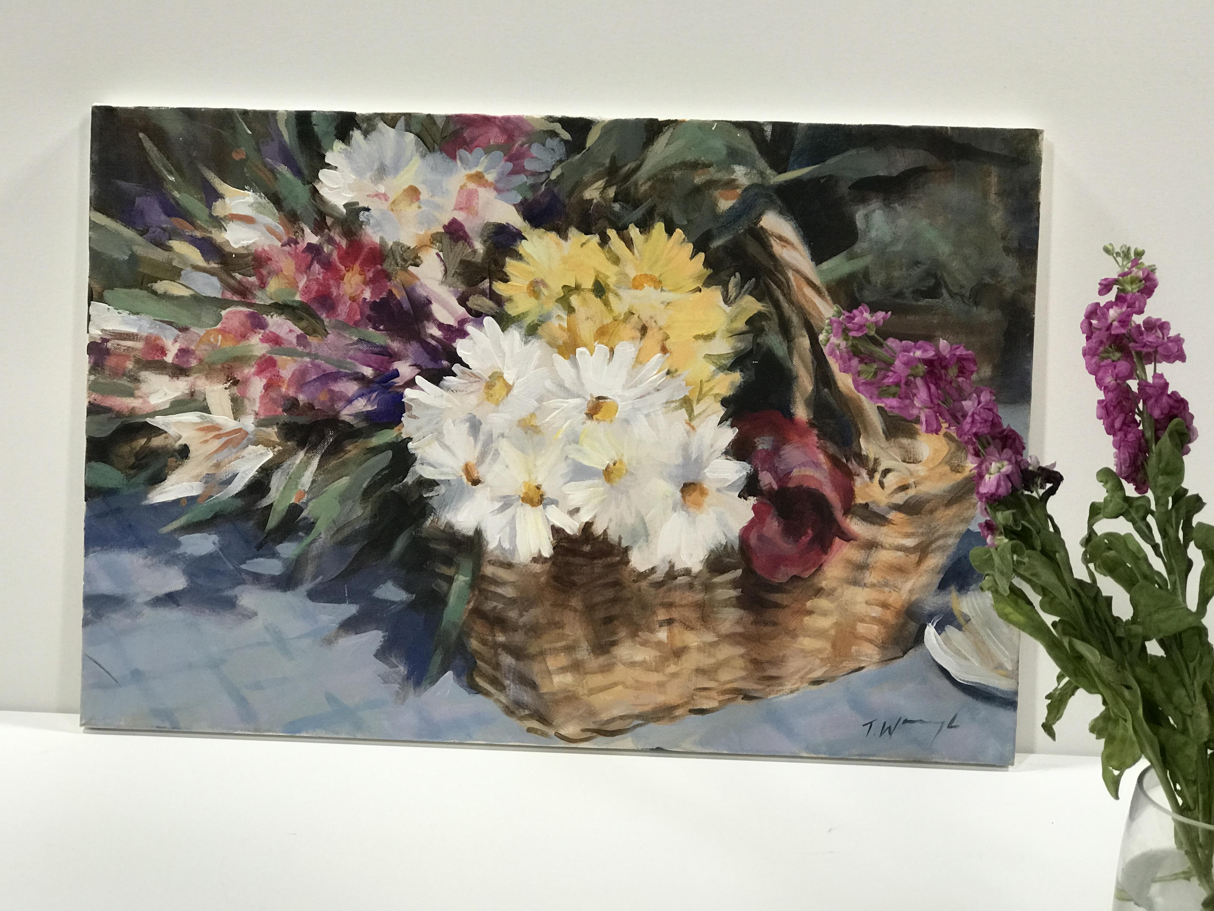 Trevor Waugh, Flower Basket, is an original oil painting depicting a still life scene.