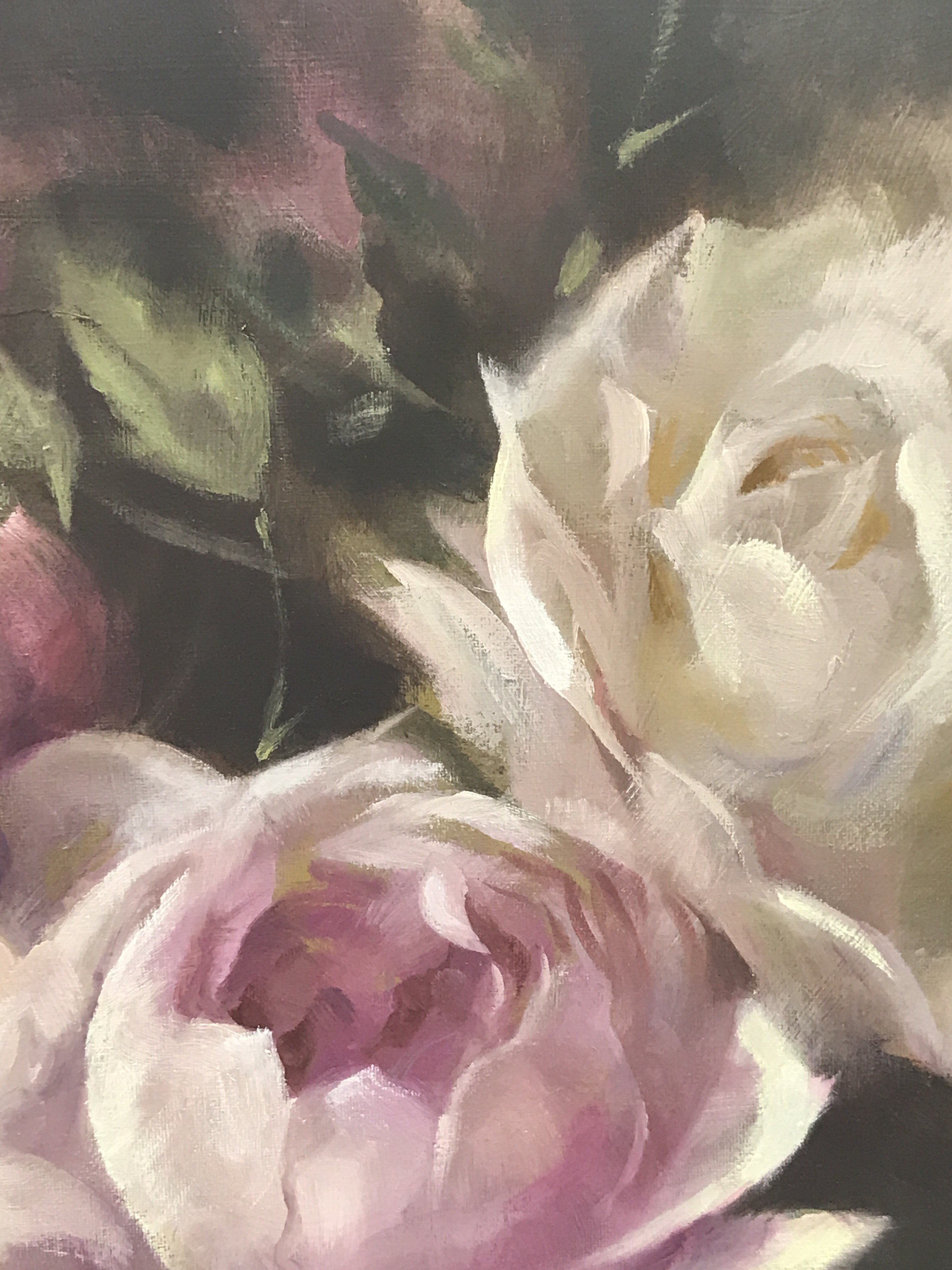 Pink Peonies is an original oil painting by Trevor Waugh. The soft tones and impressionistic edge adds depth to the piece.