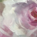 Trevor Waugh | Pink Roses at Kew | Original Oil Painting of Flowers | Flower Art | Floral Interiors | Gift Art | Flower Scenes | Rose paintings | Detail 2