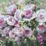 Trevor Waugh | Pink Roses at Kew | Original Oil Painting of Flowers | Flower Art | Floral Interiors | Gift Art | Flower Scenes | Rose paintings | Full