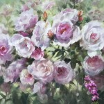 Trevor Waugh | Pink Roses at Kew | Original Oil Painting of Flowers | Flower Art | Floral Interiors | Gift Art | Flower Scenes | Rose paintings | Full