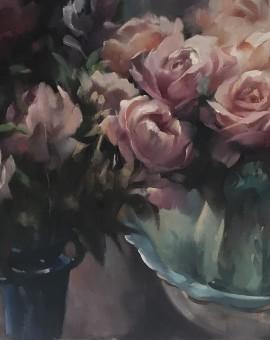 Trevor Waugh | Rose Light | Original Oil Painting | Contemporary Floral Art | Floral Interiors | Flower Art | Still Life Paintings | Full