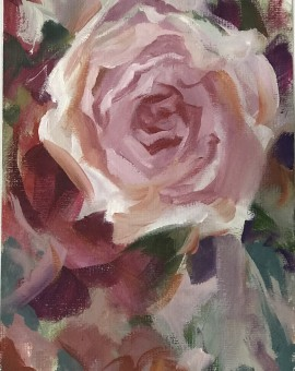 Rose Study is an original oil painting by Trevor Waugh. The impressionistic style of the piece is telling as to how Waugh applied the paint to the card.