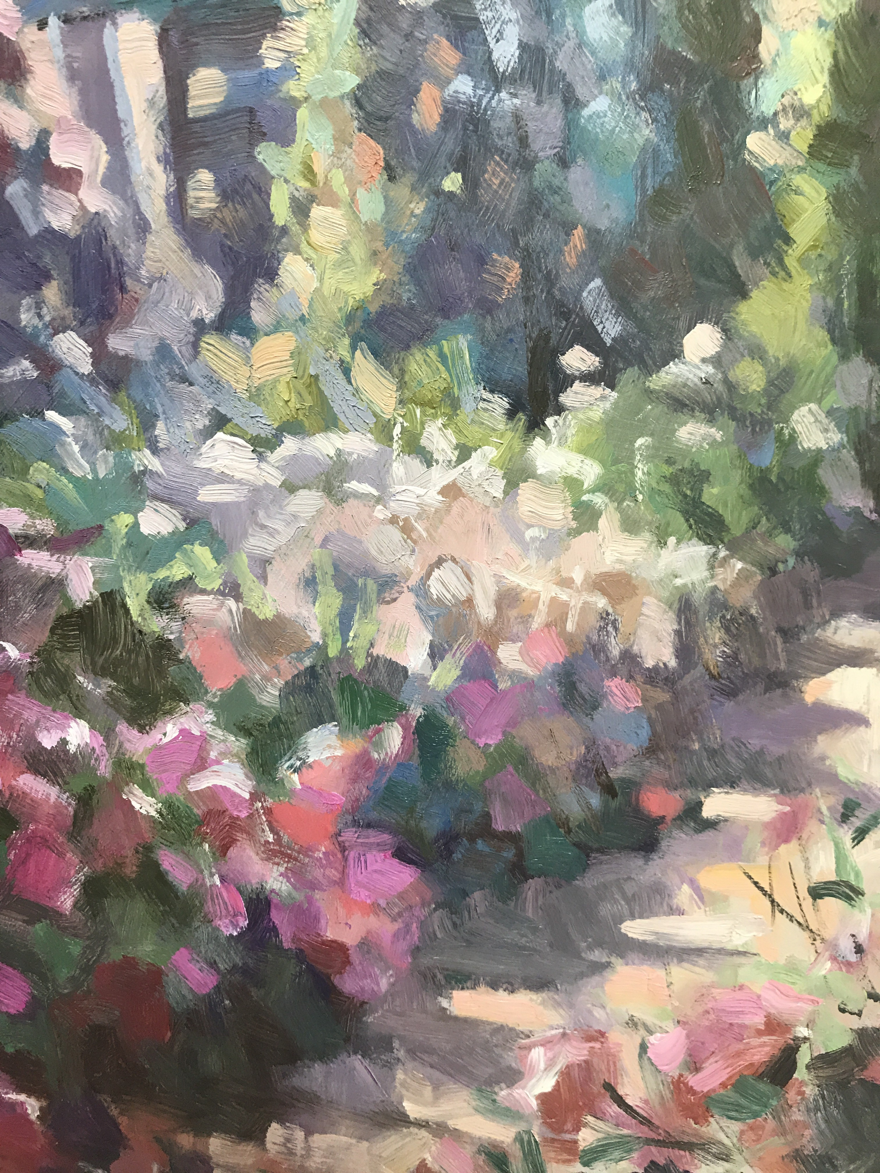 The Long Garden is an original oil painting showcasing a multitude of soft summer tones offset by some hot pink flowers in the foreground. The path and layered frame draws you into the piece further.