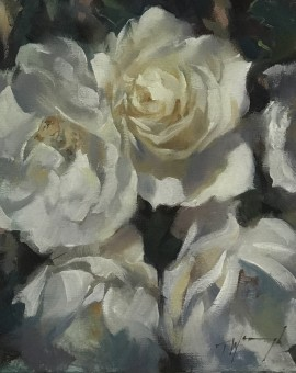Trevor Waugh | The White Ones | Original Oil Painting | Floral Still Life Painting | White Roses | Contemporary Art | Floral Interiors | Flower Art | Full