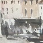 Trevor Waugh | Waiting Gondolas Venice | Original Watercolour Painting | Location Art | Travel Painting | Contemporary Art | Art for Sale Online | Close Up