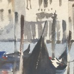 Trevor Waugh | Waiting Gondolas Venice | Original Watercolour Painting | Location Art | Travel Painting | Contemporary Art | Art for Sale Online | Close Up 2