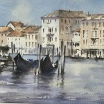 Trevor Waugh | Waiting Gondolas Venice | Original Watercolour Painting | Location Art | Travel Painting | Contemporary Art | Art for Sale Online | Full