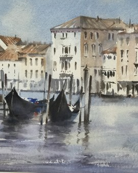 Trevor Waugh | Waiting Gondolas Venice | Original Watercolour Painting | Location Art | Travel Painting | Contemporary Art | Art for Sale Online | Full