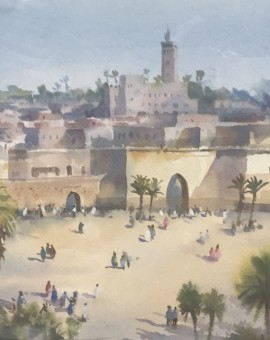 Trevor Waugh | Walls of Marrakech | Original Framed Watercolour Painting | Travel Art | Painting of Marrakech | Gifts for Travellers | Original Contemporary Art | Impressionist Art | Full