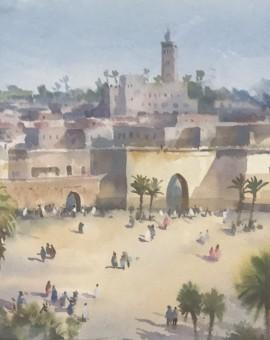 Trevor Waugh | Walls of Marrakech | Original Framed Watercolour Painting | Travel Art | Painting of Marrakech | Gifts for Travellers | Original Contemporary Art | Impressionist Art | Full