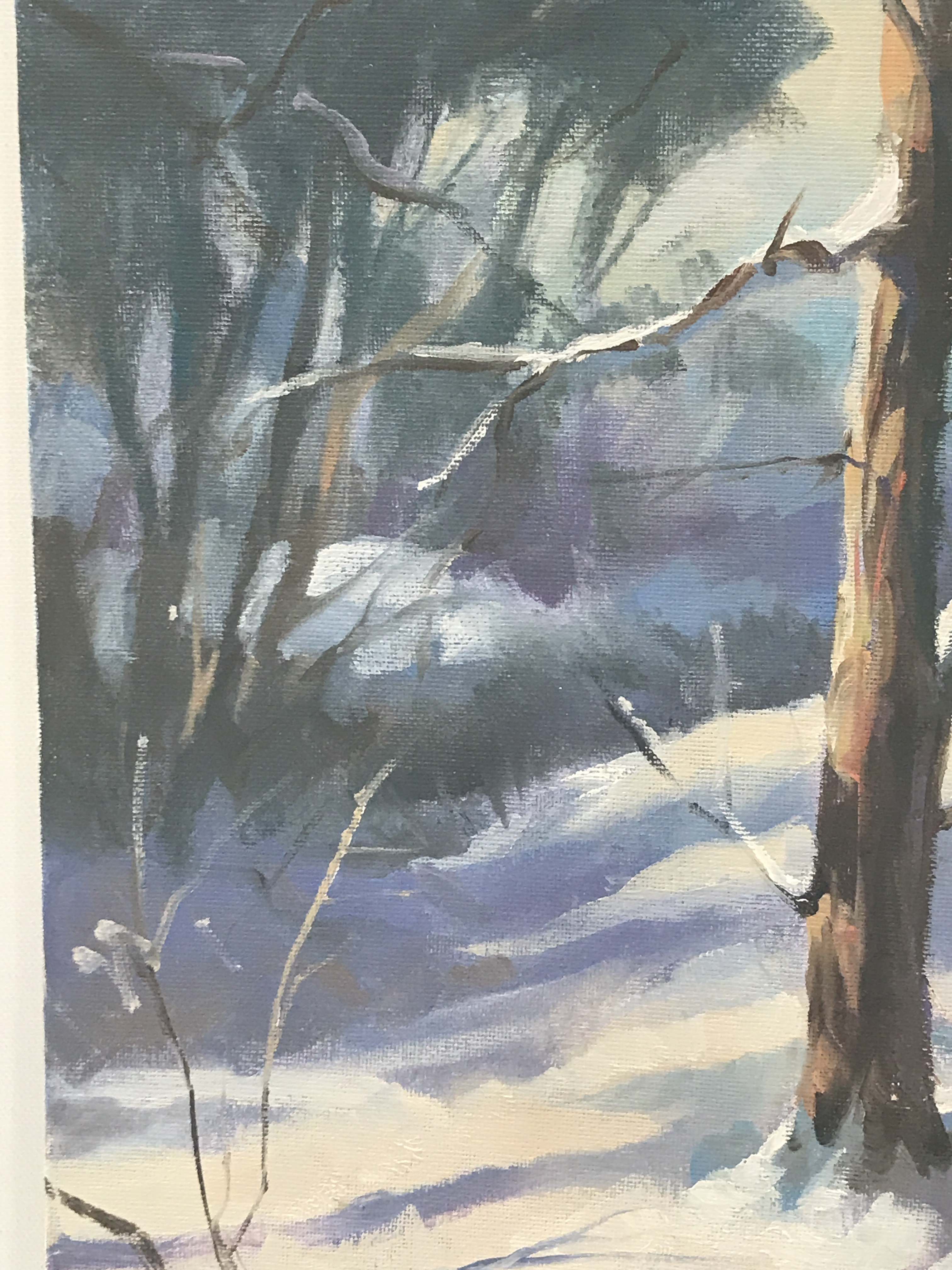 Trevor Waugh, Winter Trees, is an original oil painting depicting a snowy winter scene in a copse of trees.