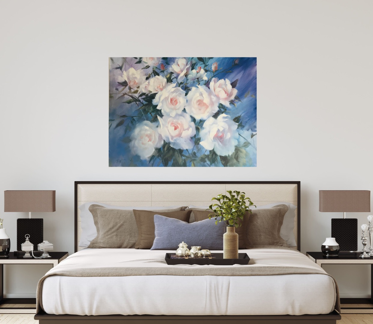 Swan Lake is an original oil painting. The delicate tones of the flowers are brought out by the impressionist blue back ground and the green foliage, all of which bring a layered aspect to the piece.