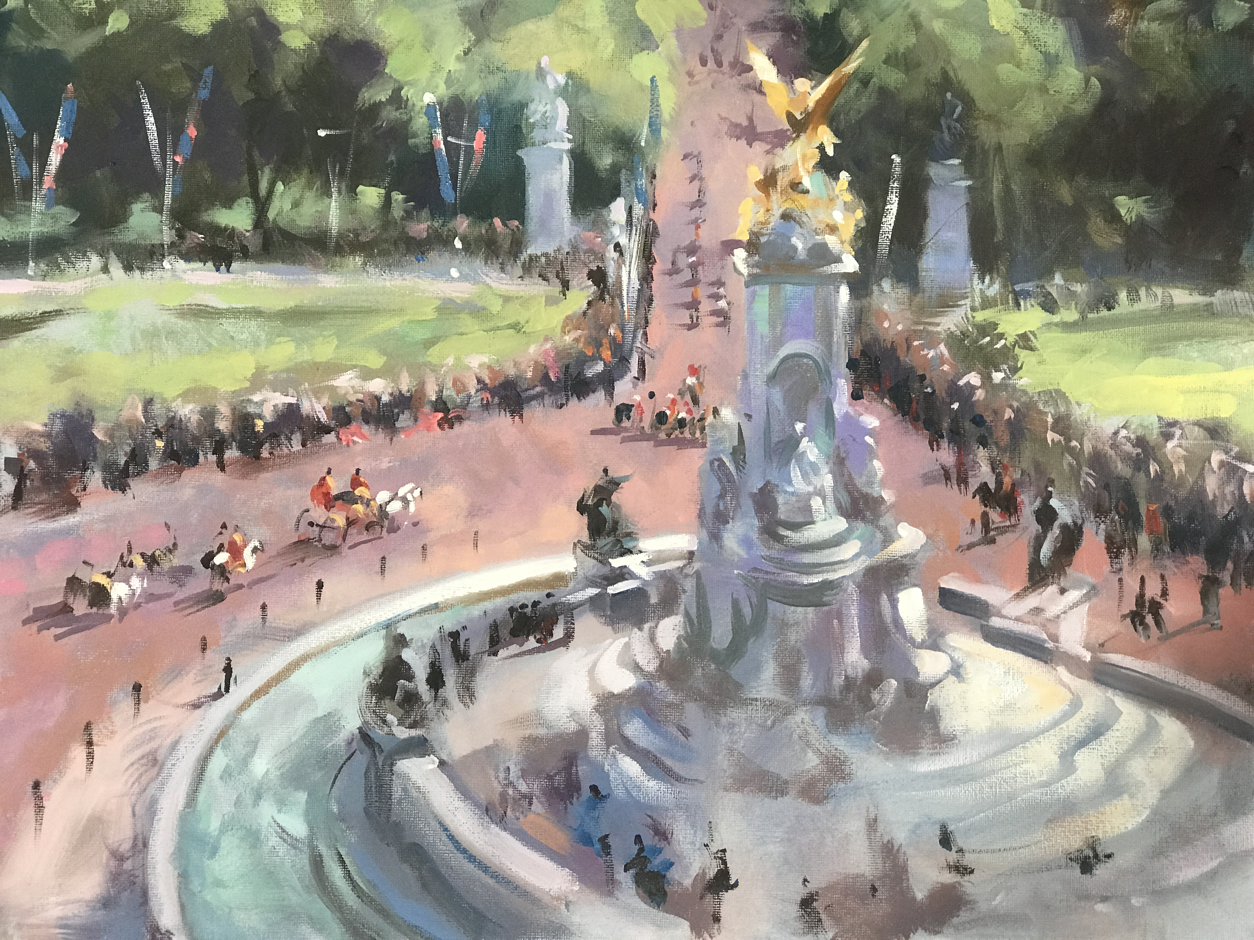 View from Buckingham's Palace, Pall The Mall London is an original oil painting. This piece allows a rare view point of the Pall Mall, the impressionistic style hints to the idea that you could be glancing out of the window at Buckingham Palace.