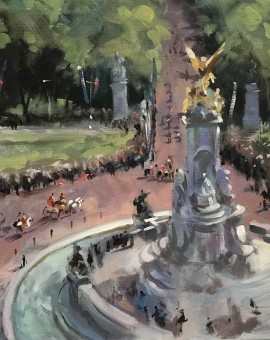 View from Buckingham Palace | Trevor Waugh | Original Oil Canvas | Contemporary Art  | Close Up