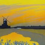 mooreCLEYTWILIGHT, Colin Moore, Limited Edition Linocut Print, Summer dusk, windmill, rural art