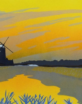 mooreCLEYTWILIGHT, Colin Moore, Limited Edition Linocut Print, Summer dusk, windmill, rural art