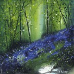 Adele Riley, Original Painting, Bluebell Wood, Contemporary Landscape Art, Affordbable Art for Sale Online