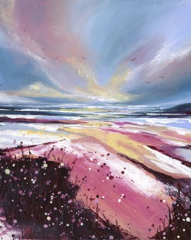 Gull Sparkle is an original seascape painting by Adele Riley. The bright tones and free style of the painting is reminiscent of the setting.