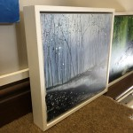 Original Adele Riley Painting for Sale Online. Silver Mist , Winter Woodland Art, Grey Art, Blue Art, Moody Landscape Paintings