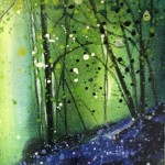 Adele Riley, Original Painting, Bluebell Wood, Contemporary Landscape Art, Affordbable Art for Sale Online