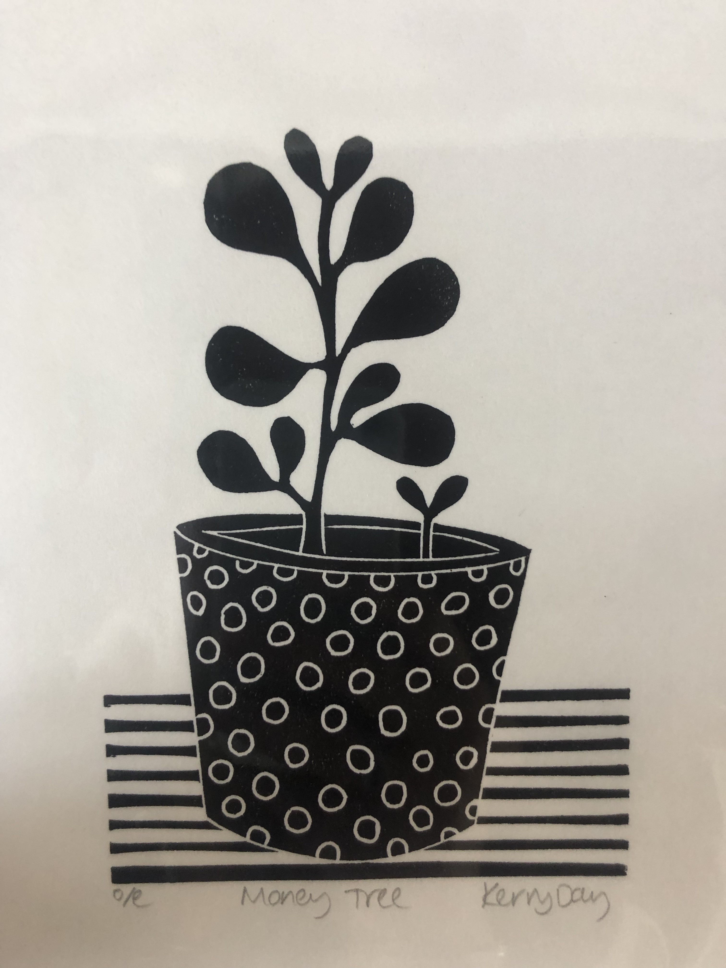 Money Tree is an open edition linocut print by Kerry Day.