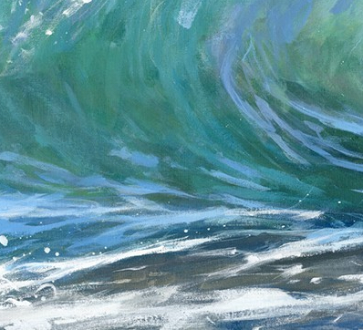 Nanjizal Barrel is a limited edition giclee print by James Bartholomew. The tones gradually merge from grey to translucent greens to create a ripcurl wave.