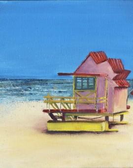 Janette George Beach Hut Pink Wychwood Gallery (800x800)