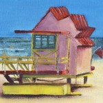 Janette George Beach Hut Pink detail 1