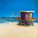 Janette George Beach Hut Purple Wychwood Gallery