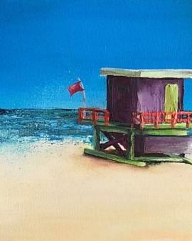 Janette George Beach Hut Purple Wychwood Gallery