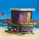 Janette George Beach Hut Purple detail 1