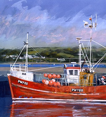 PW788 is a limited edition giclee print by James Bartholomew. This piece depicts a fishing boat moored in a British harbour.The bright red of the boat really offsets the deep blue tones of the water surrounding it.