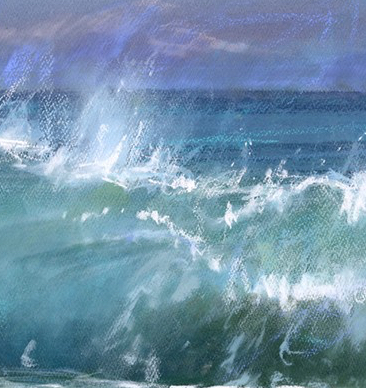 Slea Head Breaker I is a limited edition giclee print by James Bartholomew. The turbulent waves breaking in the foreground of the piece contrast the flatness of the calm sea in the background.