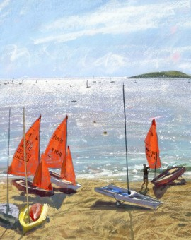 Mirror Dinghies 3, Abersoch is a limited edition giclee print by James Bartholomew. This piece depicts a cluster of boats on the shores of Abersoch in Wales.