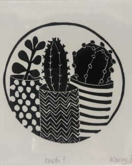 Limited Edition Kerry Day Cacti Print, Linocut Art Print, Contemporary Floral Art