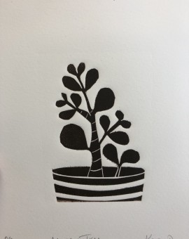 Money Tree is an open edition linocut print by Kerry Day. This piece is part of Kerry's series of prints focussing on succulent plants.