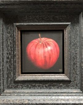 Very Red Apple is an original oil painting by Dani Humberstone. The layered black frame and background enhances the colours and textures of the apple.
