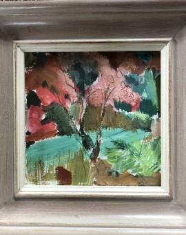 Ibiza Gardens is an original gouache landscape painting by Jemma Powell