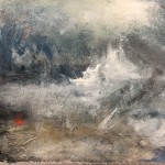 Original Jemma Powell Painting, Red Buoy in Storm, Turneresque Paintings for Sale, Contemporary Artists Influenced by Turner