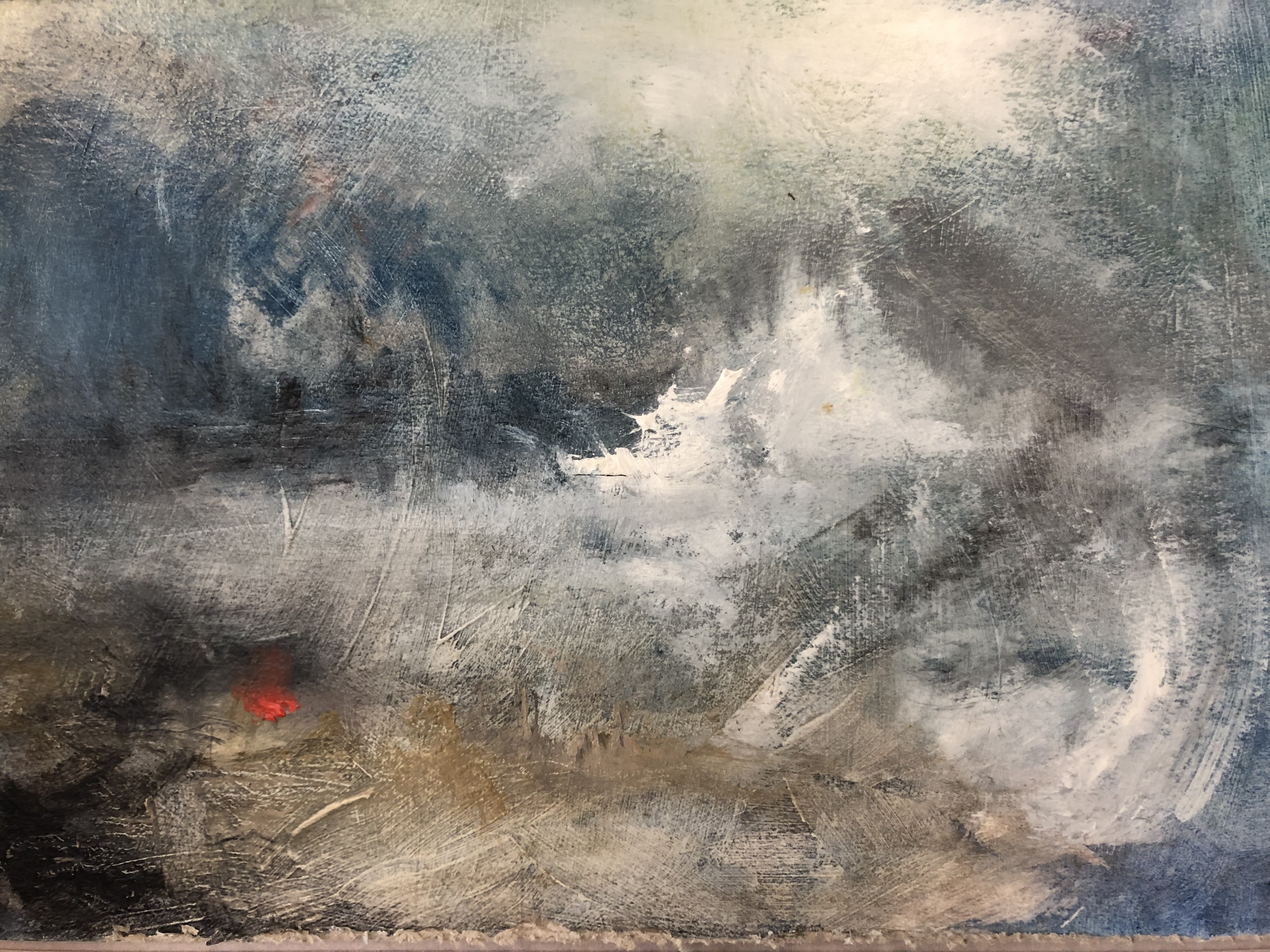 Red Buoy in Storm is an original oil seascape painting by Jemma Powell. The piece depicts a turbulent sea, painted in a turneresque style.