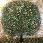 Original Nicky Chubb Painting, Tree Art, green, pink, gold and silver painting.