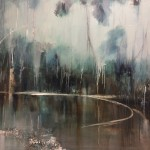 Abstract painting for sale | shaded pond painting