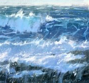 Atlantic Colours is a limited edition giclee print by James Bartholomew. Bartholomew uses short and sharp brush strokes to portray the turbulent sea.