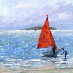 Mirror Dinghies, Abersoch is a limited edition giclee print by James Bartholomew. Bartholomew uses movement lines to add atmosphere to the piece.