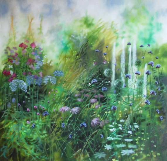 Original Dylan Lloyd painting for sale. Realist painting of a garden scene.