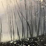 Original Adele Riley Painting for Sale Online. Silver Mist , Winter Woodland Art, Grey Art, Blue Art, Moody Landscape Paintings+lLrzjNDYA9g