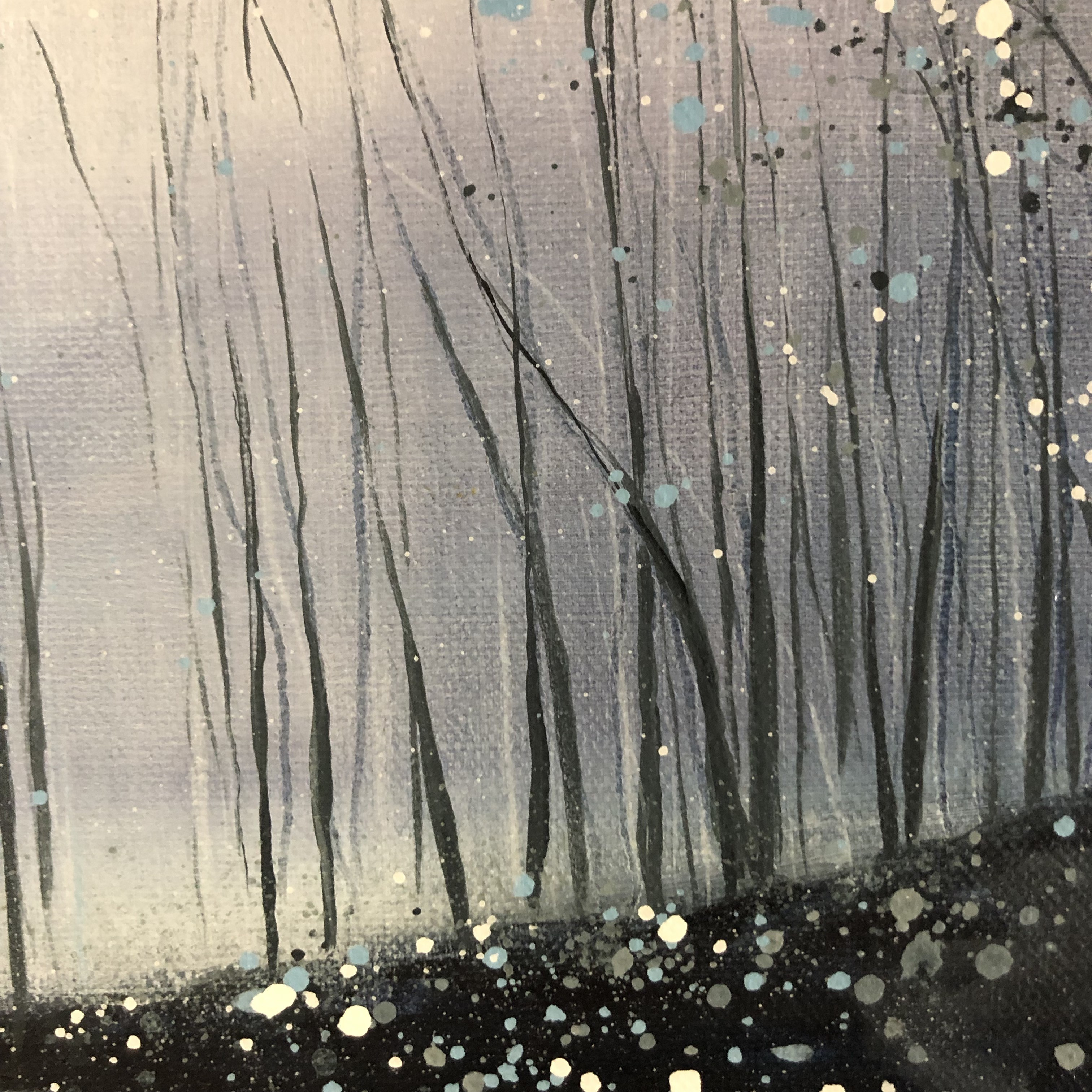 Silver Mist is an original seascape painting by Adele Riley. The grey and blue tones paired with the thin trees give the paintings a delicateness.