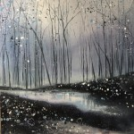 Original Adele Riley Painting for Sale Online. Silver Mist , Winter Woodland Art, Grey Art, Blue Art, Moody Landscape Paintings%Nu0Jdd9ow
