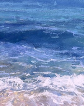 Porthmeor Wash is a limited edition giclee print by James Bartholomew. This piece depicts a foamy sea gently washing into Porthmeor Beach in Cornwall.